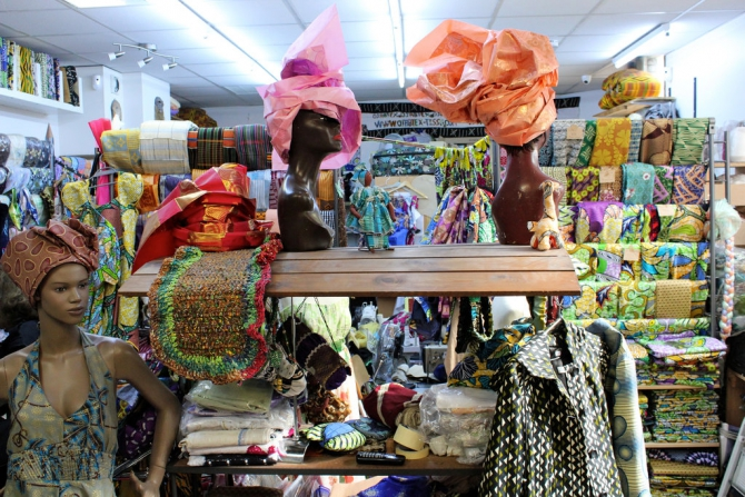 Objatex is an upscale fabric shop that sells handmade wax print fabrics.